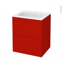 GINKO Rouge - Meuble salle de bains N°572 - Vasque REZO - 2 tiroirs  - L60,5xH71,5xP50,5