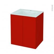 GINKO Rouge - Meuble salle de bains N°692 - Vasque EGEE - 2 portes  - L60,5xH71,2xP50,5