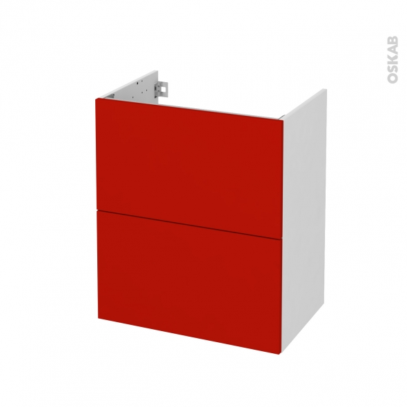 GINKO Rouge - Meuble sous vasque N°571 - Côté blanc - 2 tiroirs prof.40 - L60xH70xP40