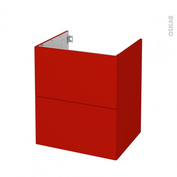 GINKO Rouge - Meuble sous vasque N°572 - Côté décor - 2 tiroirs - L60xH70xP50