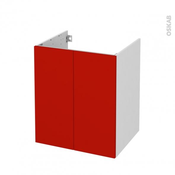 GINKO Rouge - Meuble sous vasque N°691 - Côté blanc - 2 portes - L60xH70xP50