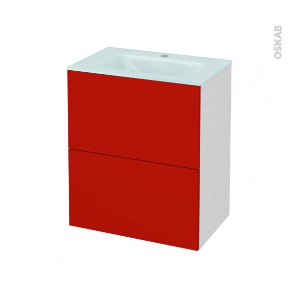 GINKO Rouge - Meuble salle de bains N°571 - Vasque EGEE - 2 tiroirs Prof.40 - L60,5xH71,2xP40,5