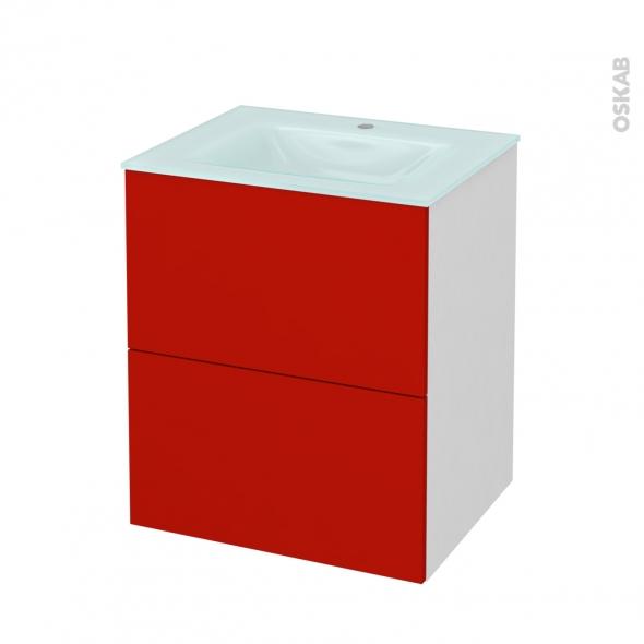 GINKO Rouge - Meuble salle de bains N°571 - Vasque EGEE - 2 tiroirs  - L60,5xH71,2xP50,5