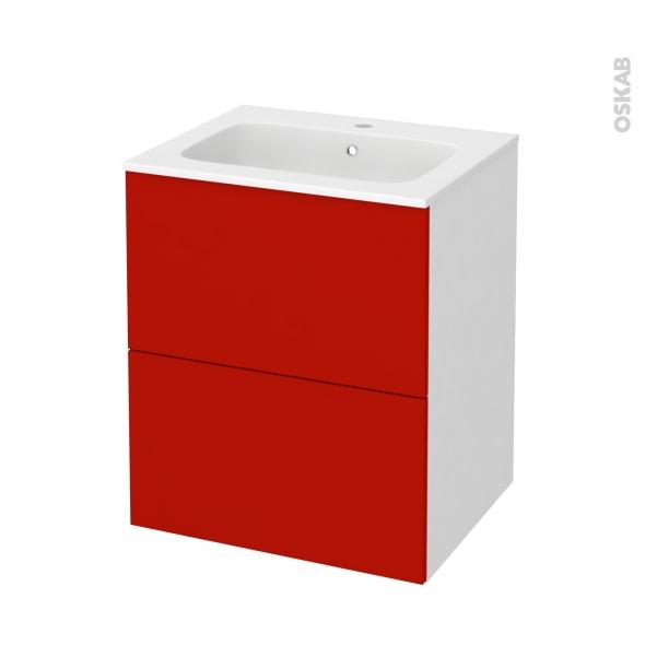 GINKO Rouge - Meuble salle de bains N°571 - Vasque REZO - 2 tiroirs  - L60,5xH71,5xP50,5