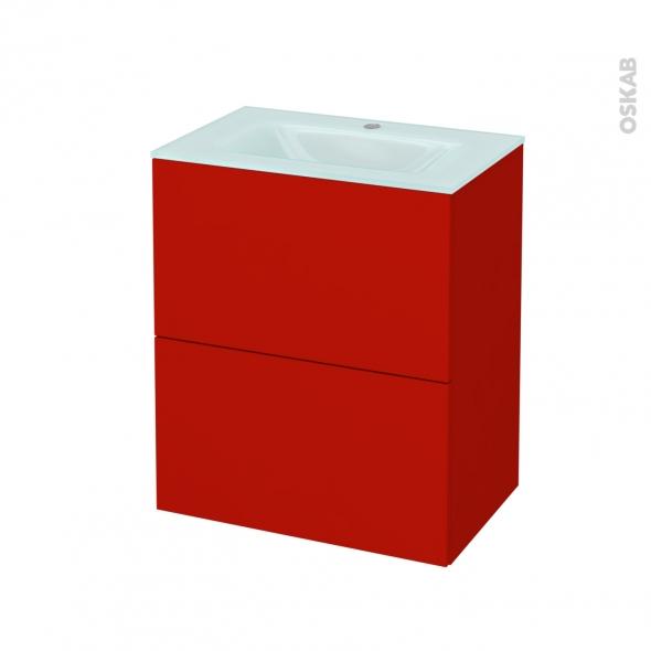 GINKO Rouge - Meuble salle de bains N°572 - Vasque EGEE - 2 tiroirs Prof.40 - L60,5xH71,2xP40,5