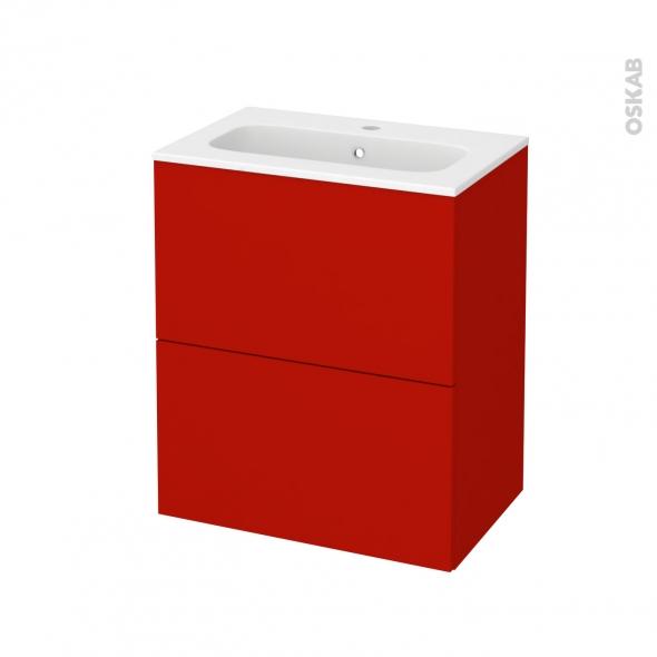 GINKO Rouge - Meuble salle de bains N°572 - Vasque REZO - 2 tiroirs Prof.40 - L60,5xH71,5xP40,5