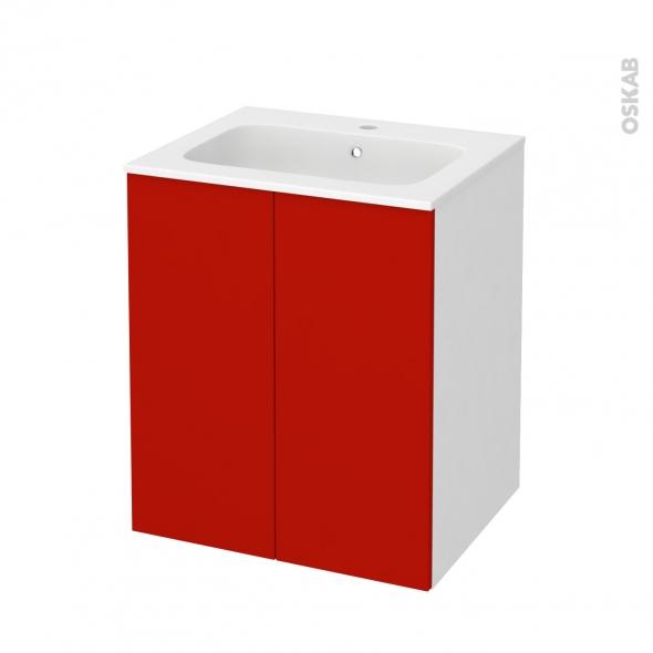 GINKO Rouge - Meuble salle de bains N°691 - Vasque REZO - 2 portes  - L60,5xH71,5xP50,5