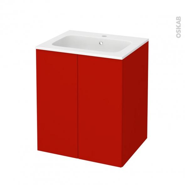 GINKO Rouge - Meuble salle de bains N°692 - Vasque REZO - 2 portes  - L60,5xH71,5xP50,5