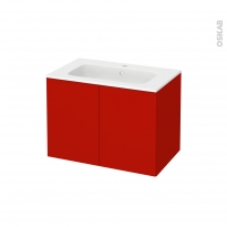 GINKO Rouge - Meuble salle de bains N°642 - Vasque VALA - 2 portes Prof.40 - L80,5xH58,2xP40,5
