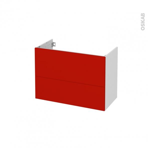 GINKO Rouge - Meuble sous vasque N°631 - Côté blanc  - 2 tiroirs prof.40 - L80xH57xP40