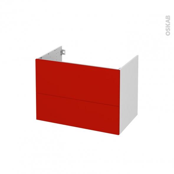 GINKO Rouge - Meuble sous vasque N°631 - Côté blanc - 2 tiroirs - L80xH57xP50