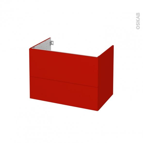 GINKO Rouge - Meuble sous vasque N°632 - Côté décor - 2 tiroirs - L80xH57xP50