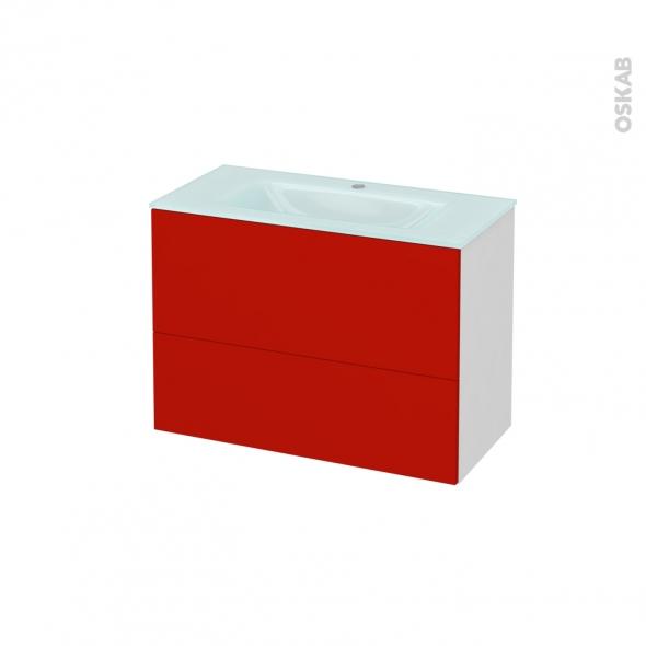 GINKO Rouge - Meuble salle de bains N°631 - Vasque EGEE - 2 tiroirs Prof.40 - L80,5xH58,2xP40,5
