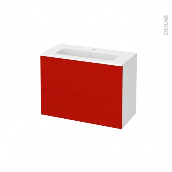 GINKO Rouge - Meuble salle de bains N°631 - Vasque REZO - 2 tiroirs Prof.40 - L80,5xH58,5xP40,5