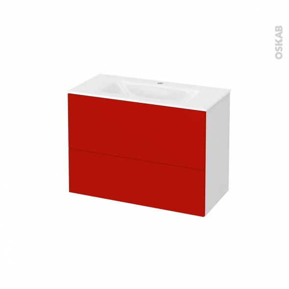 GINKO Rouge - Meuble salle de bains N°631 - Vasque VALA - 2 tiroirs Prof.40 - L80,5xH58,2xP40,5