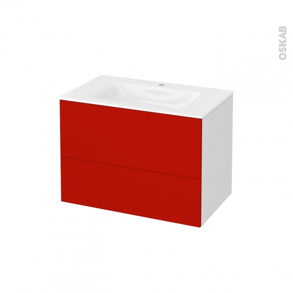 GINKO Rouge - Meuble salle de bains N°631 - Vasque VALA - 2 tiroirs  - L80,5xH58,2xP50,5