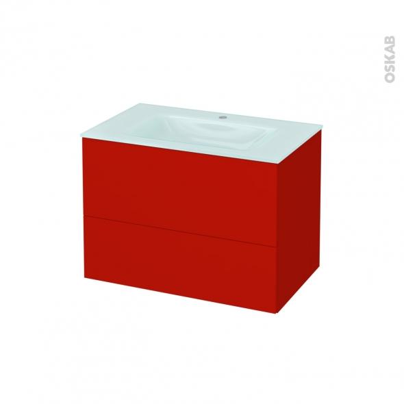 GINKO Rouge - Meuble salle de bains N°632 - Vasque EGEE - 2 tiroirs  - L80,5xH58,2xP50,5
