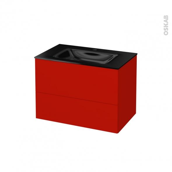 GINKO Rouge - Meuble salle de bains N°632 - Vasque OCCE - 2 tiroirs  - L80,5xH58,2xP50,5
