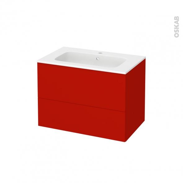 GINKO Rouge - Meuble salle de bains N°632 - Vasque REZO - 2 tiroirs  - L80,5xH58,5xP50,5