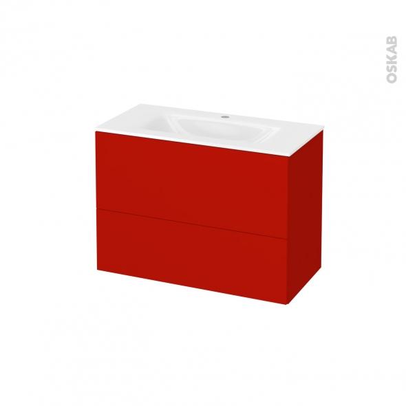 GINKO Rouge - Meuble salle de bains N°632 - Vasque VALA - 2 tiroirs Prof.40 - L80,5xH58,2xP40,5