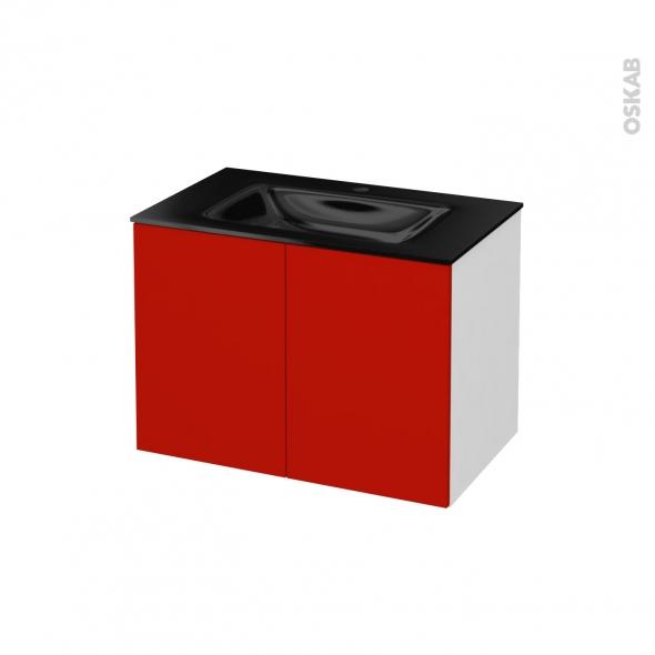 GINKO Rouge - Meuble salle de bains N°641 - Vasque OCCE - 2 portes  - L80,5xH58,2xP50,5