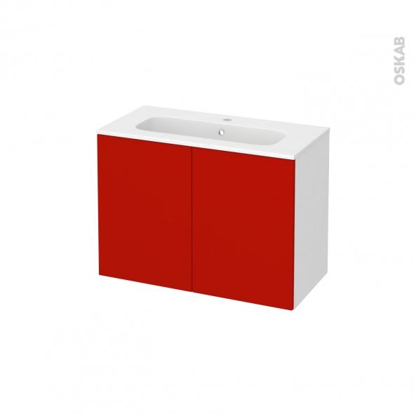 GINKO Rouge - Meuble salle de bains N°641 - Vasque REZO - 2 portes Prof.40 - L80,5xH58,5xP40,5