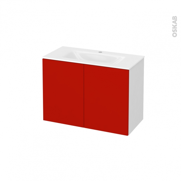 GINKO Rouge - Meuble salle de bains N°641 - Vasque VALA - 2 portes Prof.40 - L80,5xH58,2xP40,5