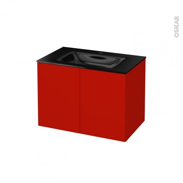 GINKO Rouge - Meuble salle de bains N°642 - Vasque OCCE - 2 portes  - L80,5xH58,2xP50,5