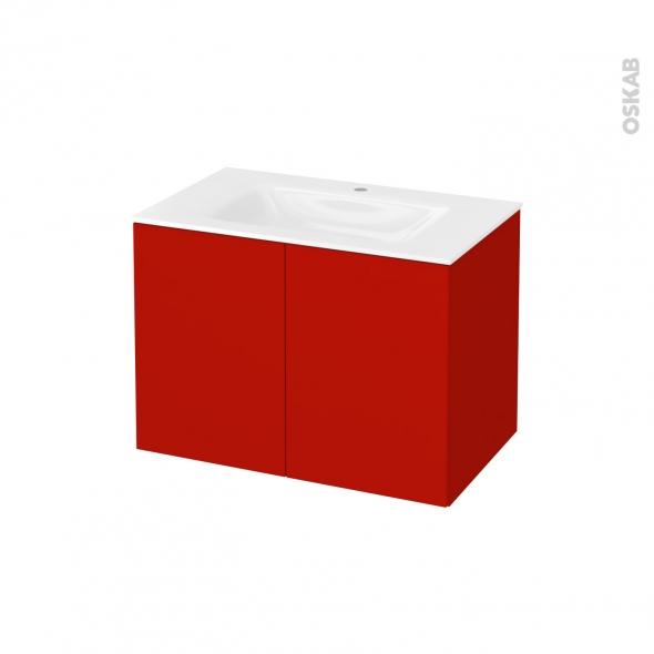 GINKO Rouge - Meuble salle de bains N°642 - Vasque VALA - 2 portes  - L80,5xH58,2xP50,5