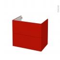 GINKO Rouge - Meuble sous vasque N°602 - Côté décor - 2 tiroirs - L80xH70xP50