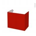 GINKO Rouge - Meuble sous vasque N°702 - Côté décor - 2 portes - L80xH70xP50