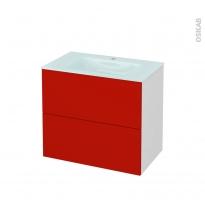 GINKO Rouge - Meuble salle de bains N°601 - Vasque EGEE - 2 tiroirs  - L80,5xH71,2xP50,5