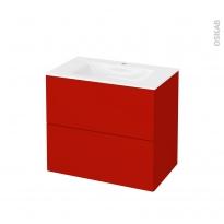 GINKO Rouge - Meuble salle de bains N°602 - Vasque VALA - 2 tiroirs  - L80,5xH71,2xP50,5