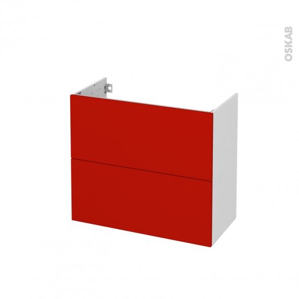 GINKO Rouge - Meuble sous vasque N°601 - Côté blanc - 2 tiroirs prof.40 - L80xH70xP40