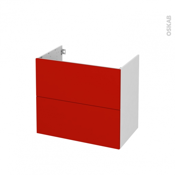GINKO Rouge - Meuble sous vasque N°601 - Côté blanc - 2 tiroirs - L80xH70xP50