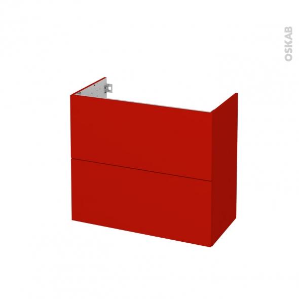GINKO Rouge - Meuble sous vasque N°602 - Côté décor - 2 tiroirs prof.40 - L80xH70xP40