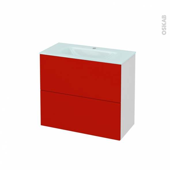 GINKO Rouge - Meuble salle de bains N°601 - Vasque EGEE - 2 tiroirs Prof.40 - L80,5xH71,2xP40,5