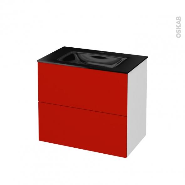 GINKO Rouge - Meuble salle de bains N°601 - Vasque OCCE - 2 tiroirs  - L80,5xH71,2xP50,5