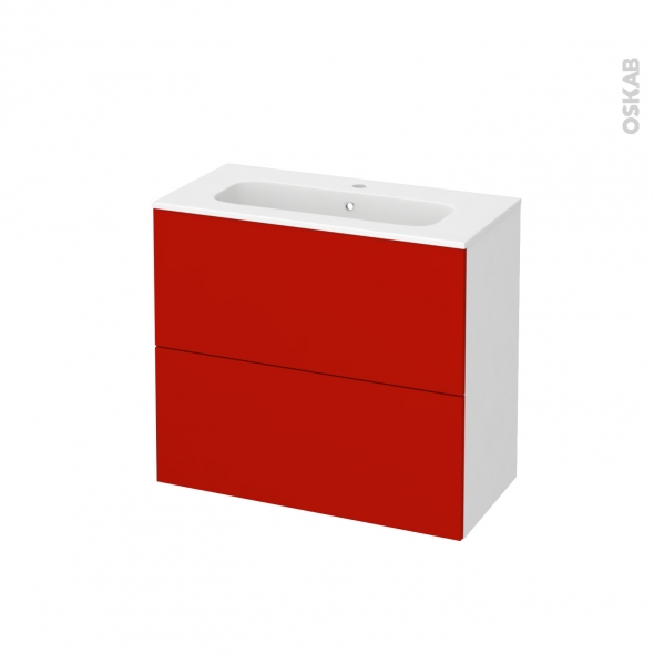 GINKO Rouge - Meuble salle de bains N°601 - Vasque REZO - 2 tiroirs Prof.40 - L80,5xH71,5xP40,5