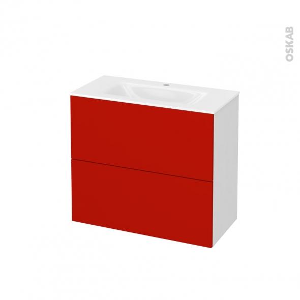 GINKO Rouge - Meuble salle de bains N°601 - Vasque VALA - 2 tiroirs Prof.40 - L80,5xH71,2xP40,5