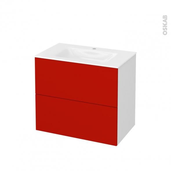 GINKO Rouge - Meuble salle de bains N°601 - Vasque VALA - 2 tiroirs  - L80,5xH71,2xP50,5