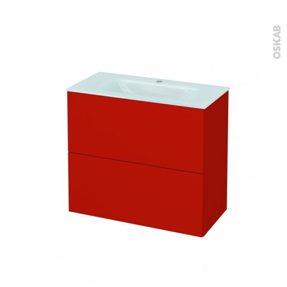 GINKO Rouge - Meuble salle de bains N°602 - Vasque EGEE - 2 tiroirs Prof.40 - L80,5xH71,2xP40,5