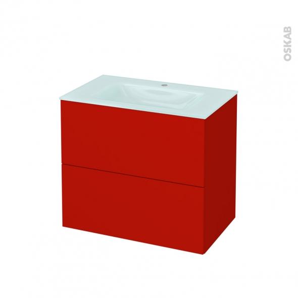 GINKO Rouge - Meuble salle de bains N°602 - Vasque EGEE - 2 tiroirs  - L80,5xH71,2xP50,5