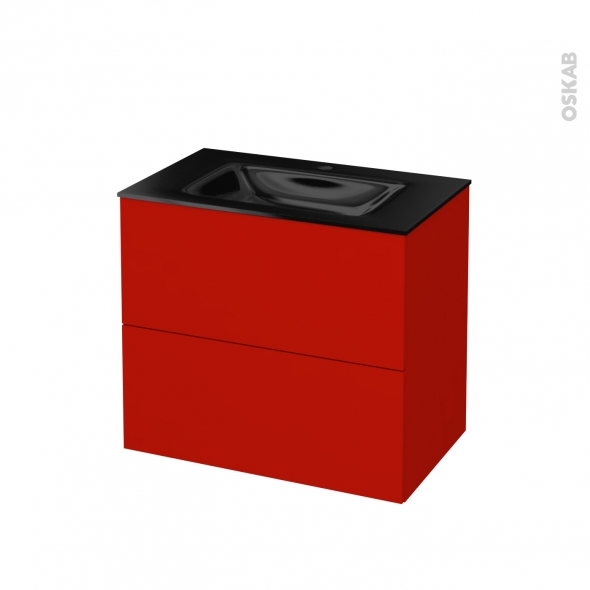 GINKO Rouge - Meuble salle de bains N°602 - Vasque OCCE - 2 tiroirs  - L80,5xH71,2xP50,5