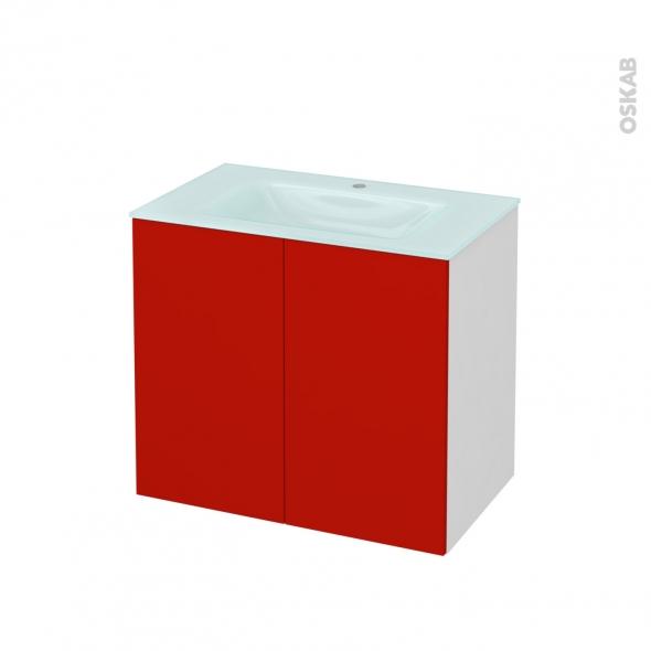 GINKO Rouge - Meuble salle de bains N°701 - Vasque EGEE - 2 portes  - L80,5xH71,2xP50,5