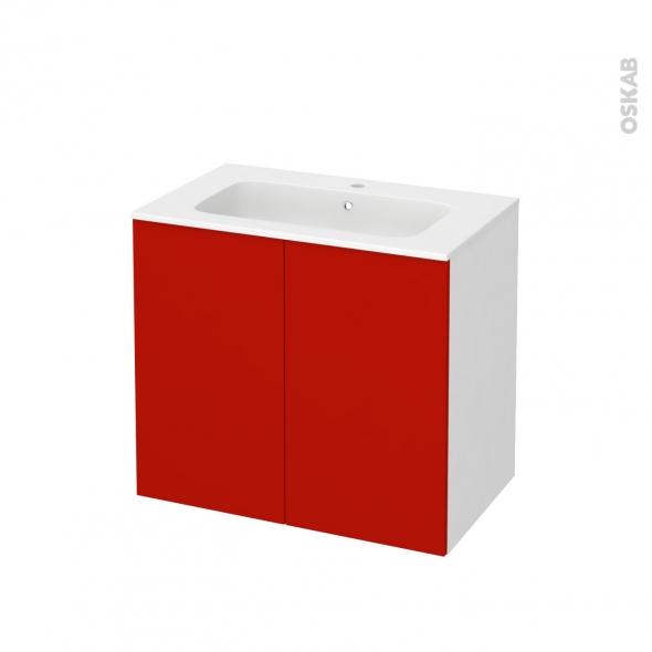 GINKO Rouge - Meuble salle de bains N°701 - Vasque REZO - 2 portes  - L80,5xH71,5xP50,5