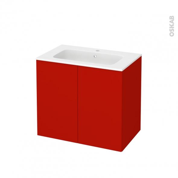 GINKO Rouge - Meuble salle de bains N°702 - Vasque REZO - 2 portes  - L80,5xH71,5xP50,5