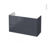 IRIS Bleu Gris - Meuble sous vasque N°652 - Côté décor - 2 tiroirs prof.40 - L100xH57xP40