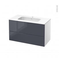 IRIS Bleu Gris - Meuble salle de bains N°651 - Vasque REZO - 2 tiroirs  - L100,5xH58,5xP50,5