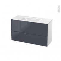 IRIS Bleu Gris - Meuble salle de bains N°651 - Vasque VALA - 2 tiroirs Prof.40 - L100,5xH58,2xP40,5